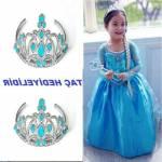 Kız Çocuk Elsa Kostümü Çocuk Hediye Elbise Mavi Kostüm Kız Çocuk Elsa Taç Mavi Abiye Doğum Günü