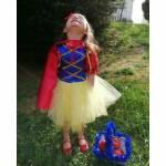 Pamuk Prenses Kostümü Pelerinli Pullu Kostüm Kız Çocuk Doğum Günü Kostümü Abiye Kız Çocuk Gelinlik