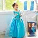 Elsa Kostümü - Pelerinli Elsa Kostümü Frozen Kostümü Simli Uzun Kol Elbise - 7Li Süper Set Özel