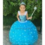 Elsa Kostümü Kız Çocuk Gelinlik Anna Kostümü Kabarık Elsa Tarlatanlı Elsa Doğum Günü Mavi Kostüm