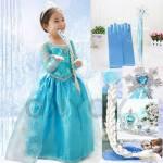 Elsa Elbisesi Elsa Kostümü Saç-Eldiven-Taç-Asa Full